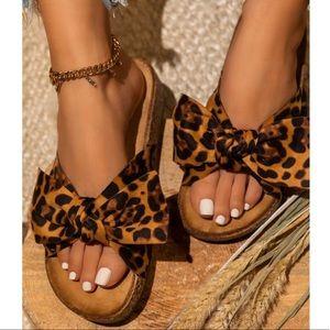 Shoes - Leopard Print Bow Knot Cork Slides Sandals